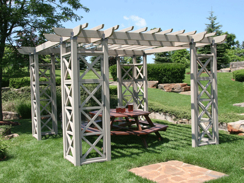 12x12 flat roof garden pergola room yardistry for Large garden room